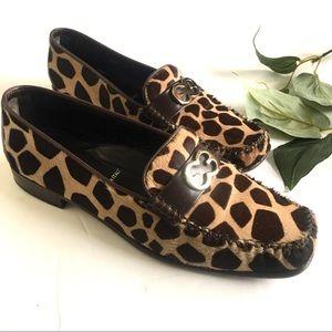 Escada Vintage Calf Hair Print Loafers Size 37.5